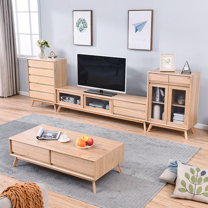 Northern European-Style Living Room Solid Wood TV Cabinet Unit Modern Minimalist Teapoy Table TV Stand Small Apartment Floor Cab
