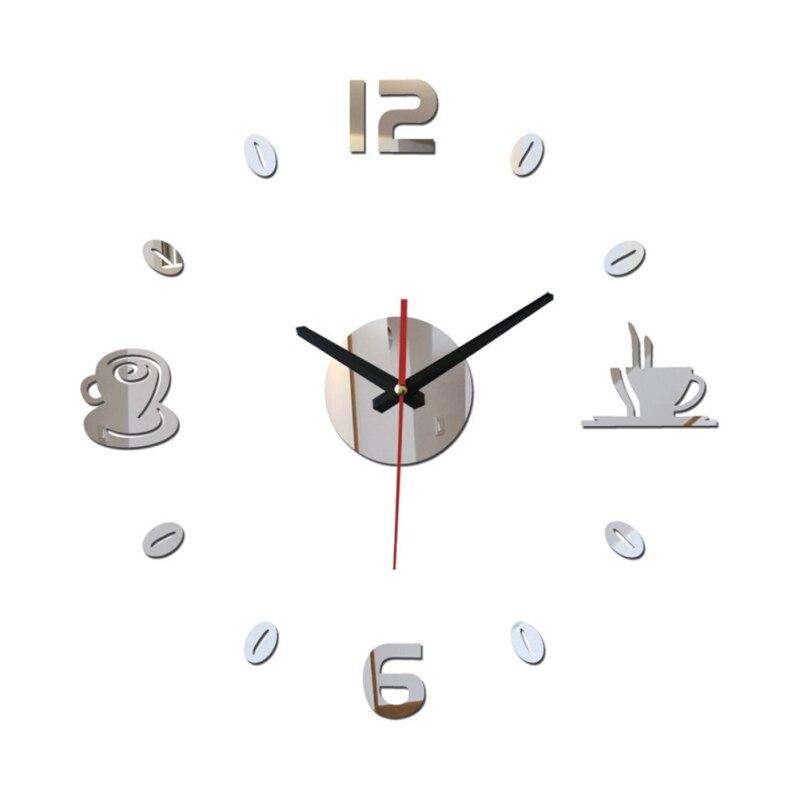 New 3D DIY Digital Number Clock Coffee Cup Clock  Quartz No-ticking Wall Clock Self-adhesive Bedroom Home Decoration