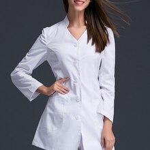 Полуперманентная рабочая одежда для женщин, докторов и медсестер, белое платье для похудения, оральная клиника, больница, стоячий воротник, модное платье