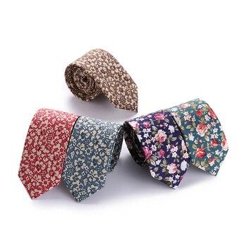 Tie for Men Slim Tie cotton  Necktie Cotton Narrow Cravat Floral Blue Black Red Stripe Party Formal Ties Fashion floral embroidered tie detail stripe dress