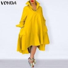 Automne femmes 2021 décontracté tourner vers le bas cou solide robes de grande taille bohème Vestidos élégant Robe VONDA chemise ample Robe Femme