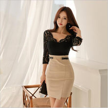2020 Lace Club Dress V-Neck Black Patchwork Full Sleeve Sheath Bodycon Mini Cloth Women Sexy Vestidos QC143(China)