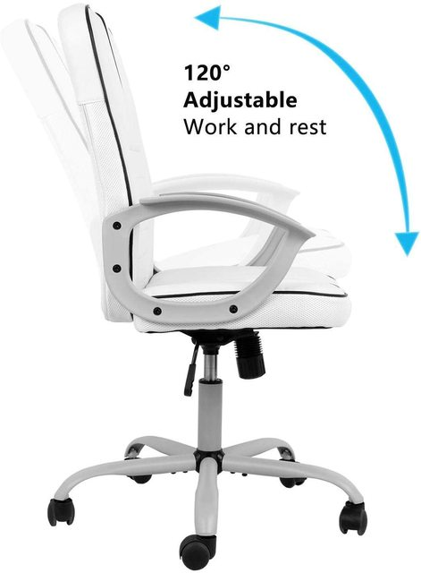 office executive chair ergonomic Leather computer game Chair Internet chair for cafe household chair White 5