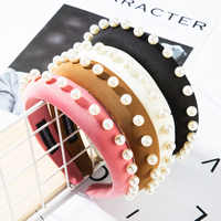 2019 Autumn Winter Women Velvet Haiband Thick Pearl Padded Headband Hair Accessories Girls Wide Hair Hoop Hair Bands Headwear