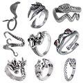 Кольцо в стиле ретро, панк, змея, дракона для мужчин и женщин, огромное кольцо в античном стиле, регулируемые кольца, украшения