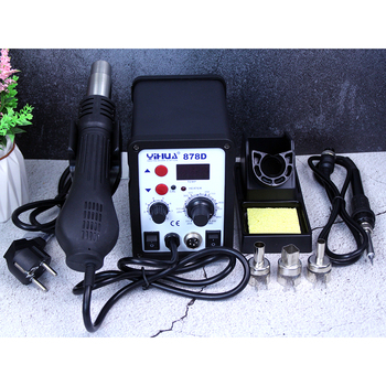 цена на YIHUA 878D Hot Air Gun Soldering Station With 907A Soldering Iron Station welding machine smd small soldering rework station