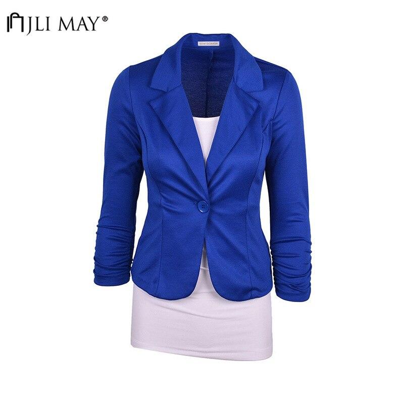 JLI MAY Elegant Women Blazer Autumn Winter Short Single Button Formal Office Wear Minimalist Casual Long Sleeve Slim Blazers