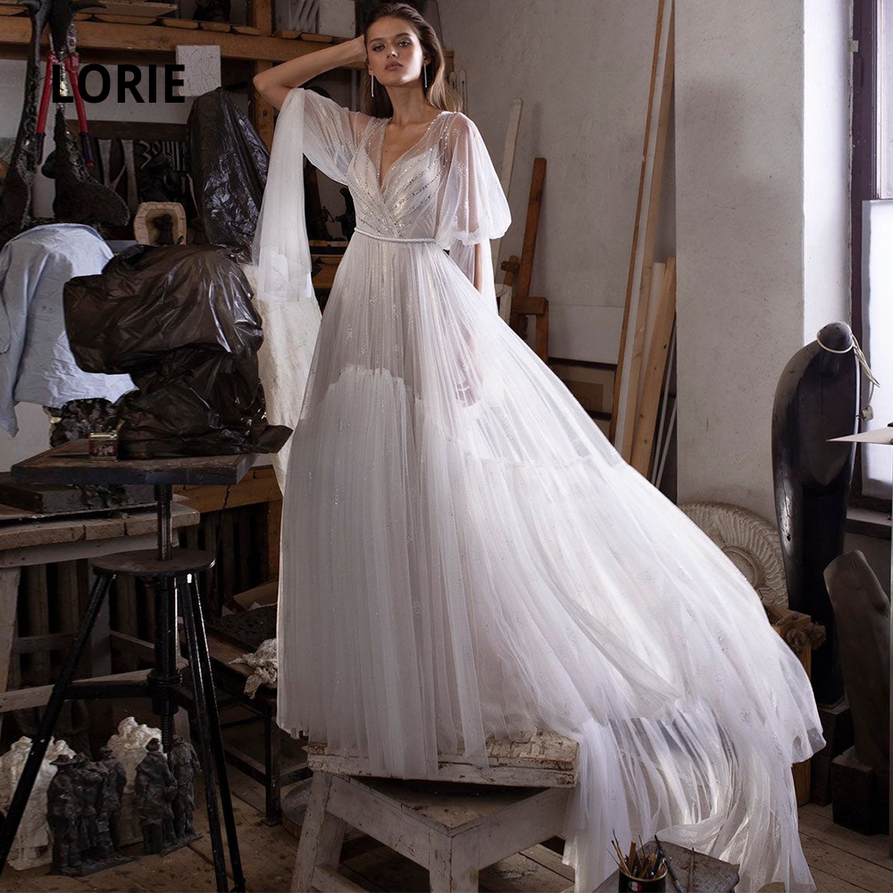 LORIE 2 Pieces Long Puffy Sleeve Wedding Dresses Beaded 2020 Soft Tulle Bridal Gowns Boho Hem A-line Long Train Party Dress