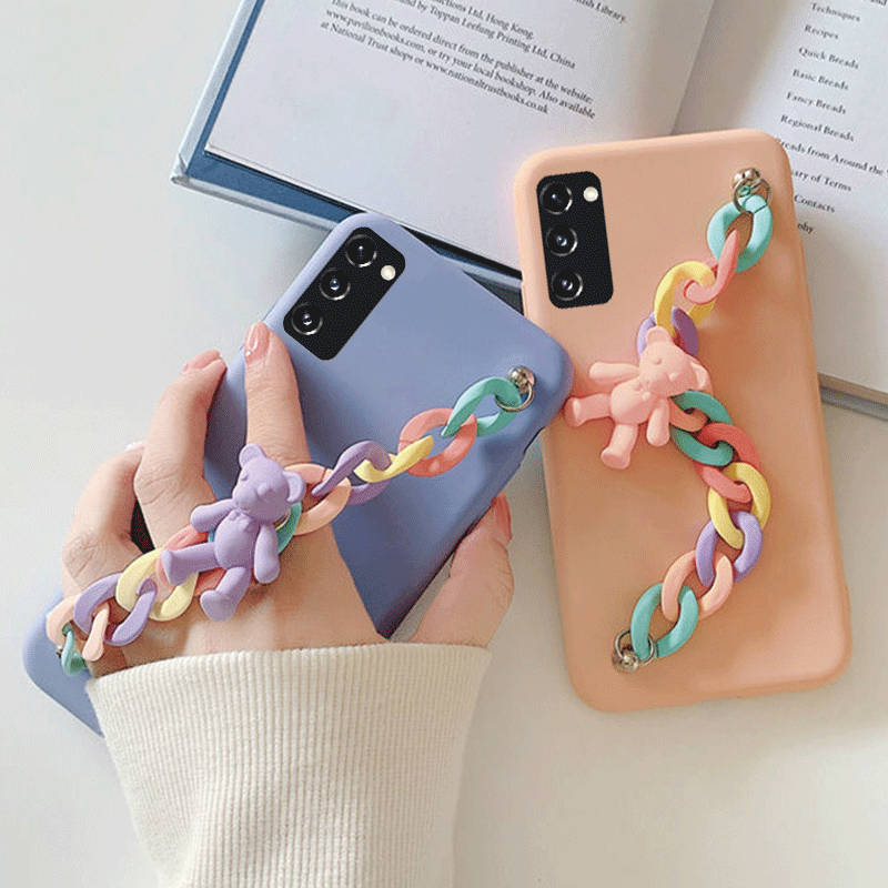 3D Cute Candy Bear Pendant Bracelet Soft TPU Phone Case For Samsung S21 Note 20 Ultra S20 FE A51 A71 A12 A42 M31S M51 A21S Cover