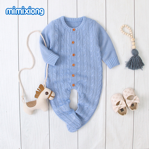 Image 4 - Baby Rompers Clothes Solid Knitted Newborn Toddler Kids Girls Jumpsuits Long Sleeves Infant Boys Overalls Children Outfits 0 24M