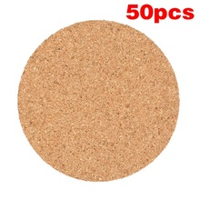 50Pcs Handy Round Shape Dia 9cm Plain Natural Cork Coasters Wine Drink Coffee Tea Cup Mats Table Pad For Home Office Kitchen New