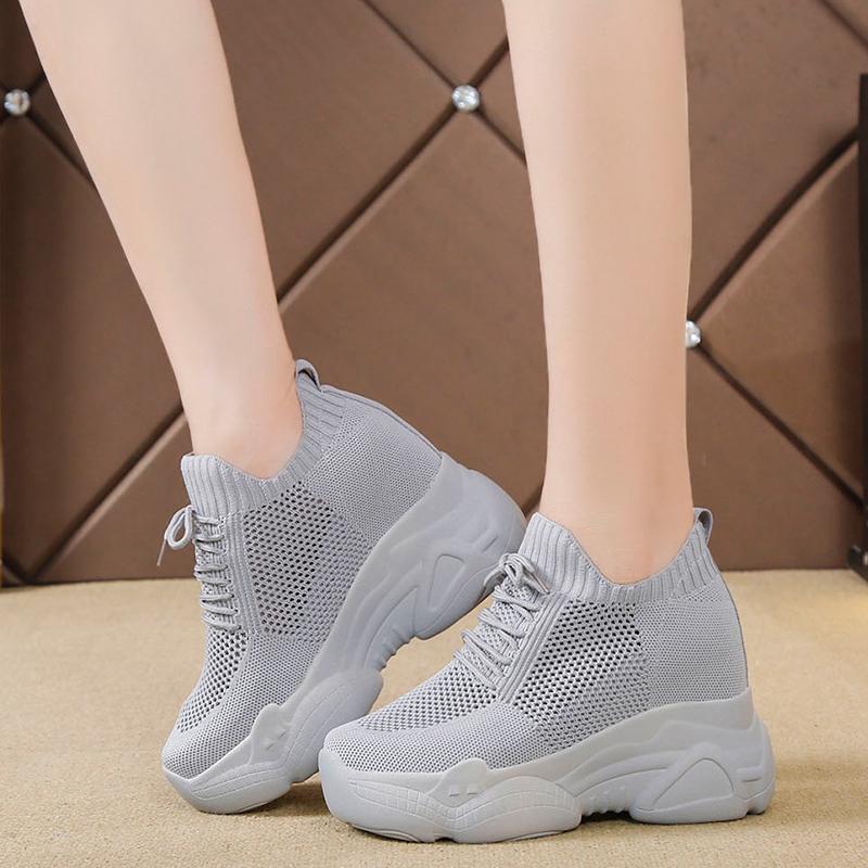 Кроссовки-носки Rimocy женские, дышащие, сетчатые, на платформе, скрытый каблук, танкетка, повседневная обувь, весна 2020