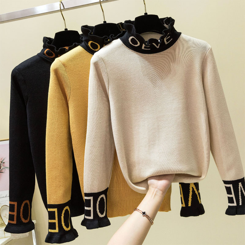Autumn Winter Thick Warm Beautiful Embroidery Turtleneck Sweater Women Long Sleeve Knit Pullover Sweater Female Pull Femme Tops