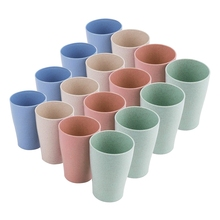 Drinking-Cups Tumblers Picnic Wheat-Straw for Kids Adult 10-Oz Reusable 16-Pack Party