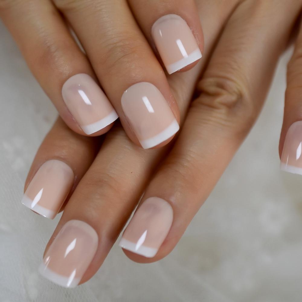 Unhas francesas bege ponta branca squoval unhas falsas curto tamanho médio senhoras manicure artificial dicas para uso diário