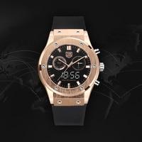 TVG Luxury Brand MensNew Luminous Dual Display Quartz Watch PU Watch Band Waterproof Watch LED Digital Watch Men Sport Watch
