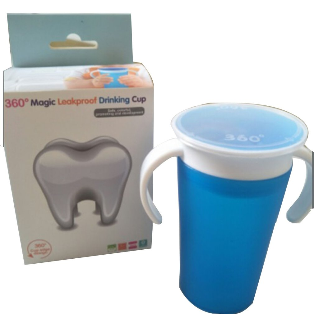 Baby Learning Drinking Cup 360 Degree Water Milk Straw Bottle With Handle Leak-proof Safe Learn Drink Training Cup