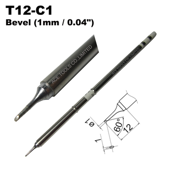 T12-C1 Bevel 1mm Soldering Tip for HAKKO FX-951 FX-950 FX-952 FX-9501 FM-2028 FM2027 Iron Bit Handle Pencil Nozzle Replacement image