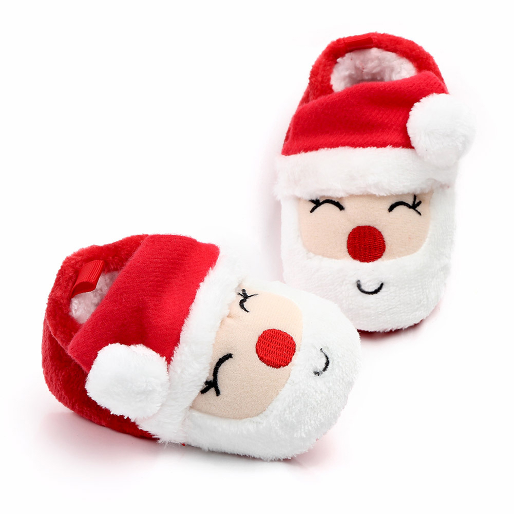Baby Christmas Shoes Newborn Warm Snow Boots Infant Soft Sole Slipper Crib First Walkers Toddler Santa Claus Deer Shoe