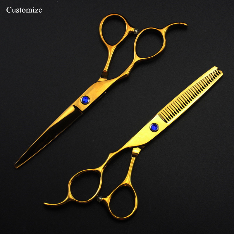 5 Colors Customize Japan 440c Left Hand 6 '' Cut Hair Scissors Set Cutting Barber Haircut Thinning Shears Hairdresser Scissors