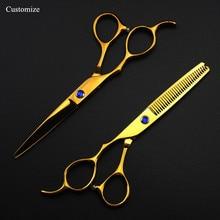 5 cores Personalizar Japão 440c mão Esquerda 6 corte scissors set Cabeleireiro corte de cabelo desbaste tesouras do barbeiro tesoura de corte de cabelo
