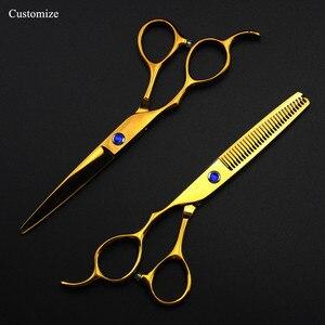 Image 1 - 5 kolorów dostosuj japonia 440c lewa ręka 6 cięcia nożyczki do włosów zestaw do cięcia fryzjer strzyżenie nożyce do cieniowania fryzjer nożyczki