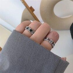 Metal punk estilo restaurando antigas maneiras é vermelho e preto coração corrente anel anel feminino casamento jóias festa presente