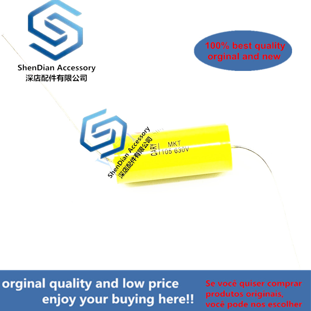 10pcs Febrile Electrodeless Copper Foot Audio 1.0uf 630V Yellow Through Heart Axial Bilio Mechanical Coupling Film Capacitor