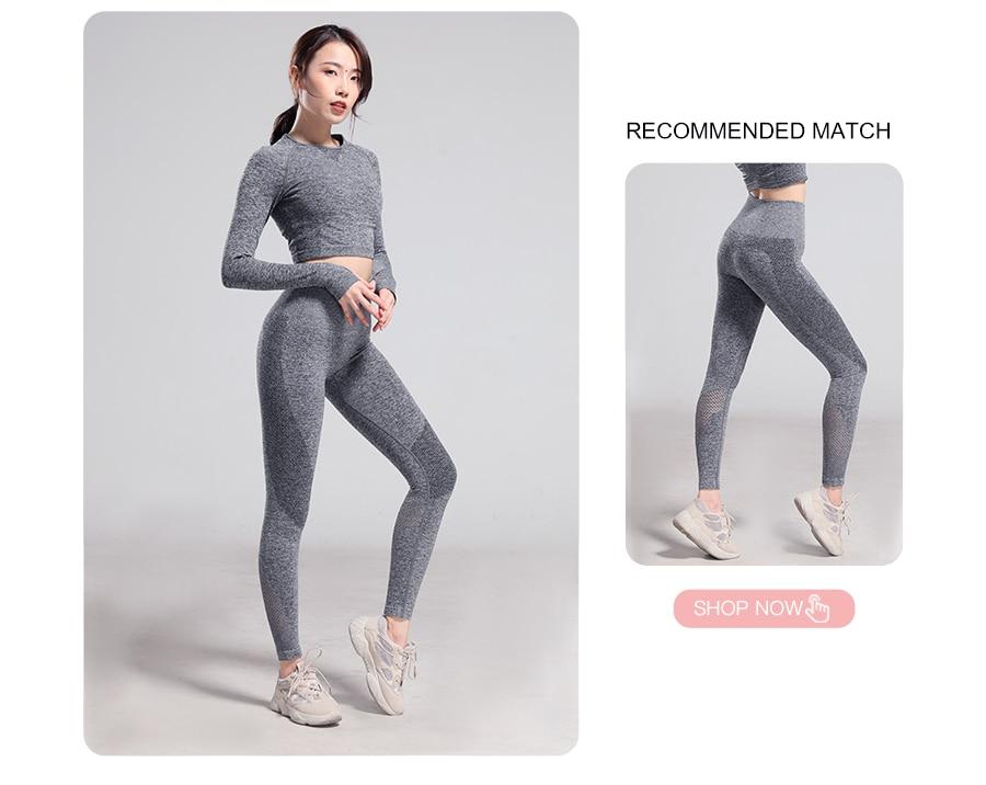 longa camisa feminina colheita superior yoga esporte