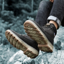 Brand New Men Boots Winter With Fur Outdoor Warm Snow Boots Men Winter Boots Work Shoes Men Footwear Fashion Rubber Ankle Shoes недорого