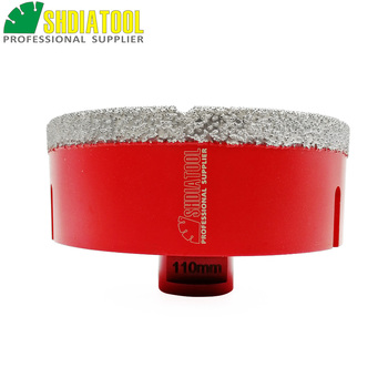 SHDIATOOL 1pc M14 Dia 110mm Vacuum Brazed Diamond Drill Core Bit Drilling Bit For Granite Marble Ceramic Hole Saw