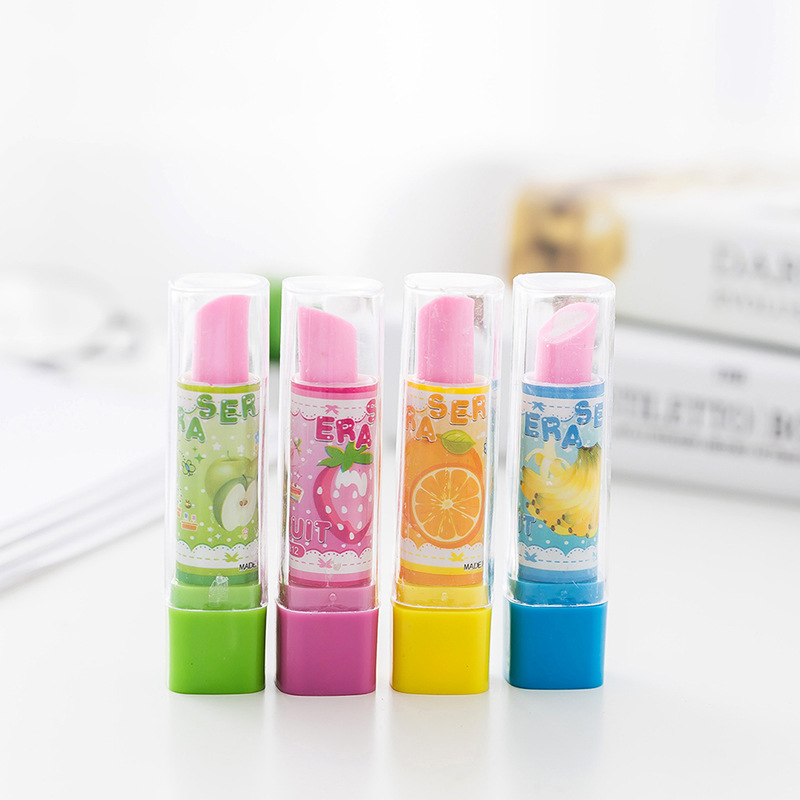 1pcs Eraser Stationery Primary School Student Stationery Creative Lipstick Style Eraser Cute Children's Prize