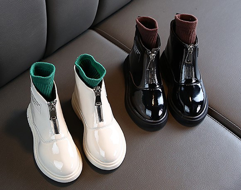 Chilidren Boots Big Boys Girls Leather Ankle Boot Warm Fur Zipper Boots Patent Black New Fashion Boots Student SandQ Baby