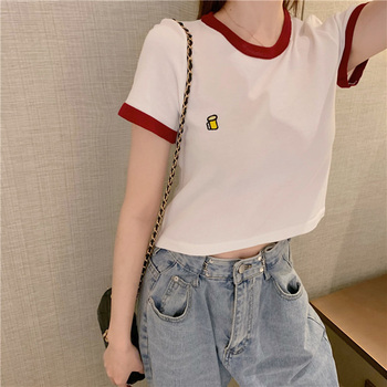 HELIAR Summer T-shirts Women Thin Knitted Tees Cute Tops Solid O-Neck Short Sleeve Crop 2020 - discount item  40% OFF Tops & Tees