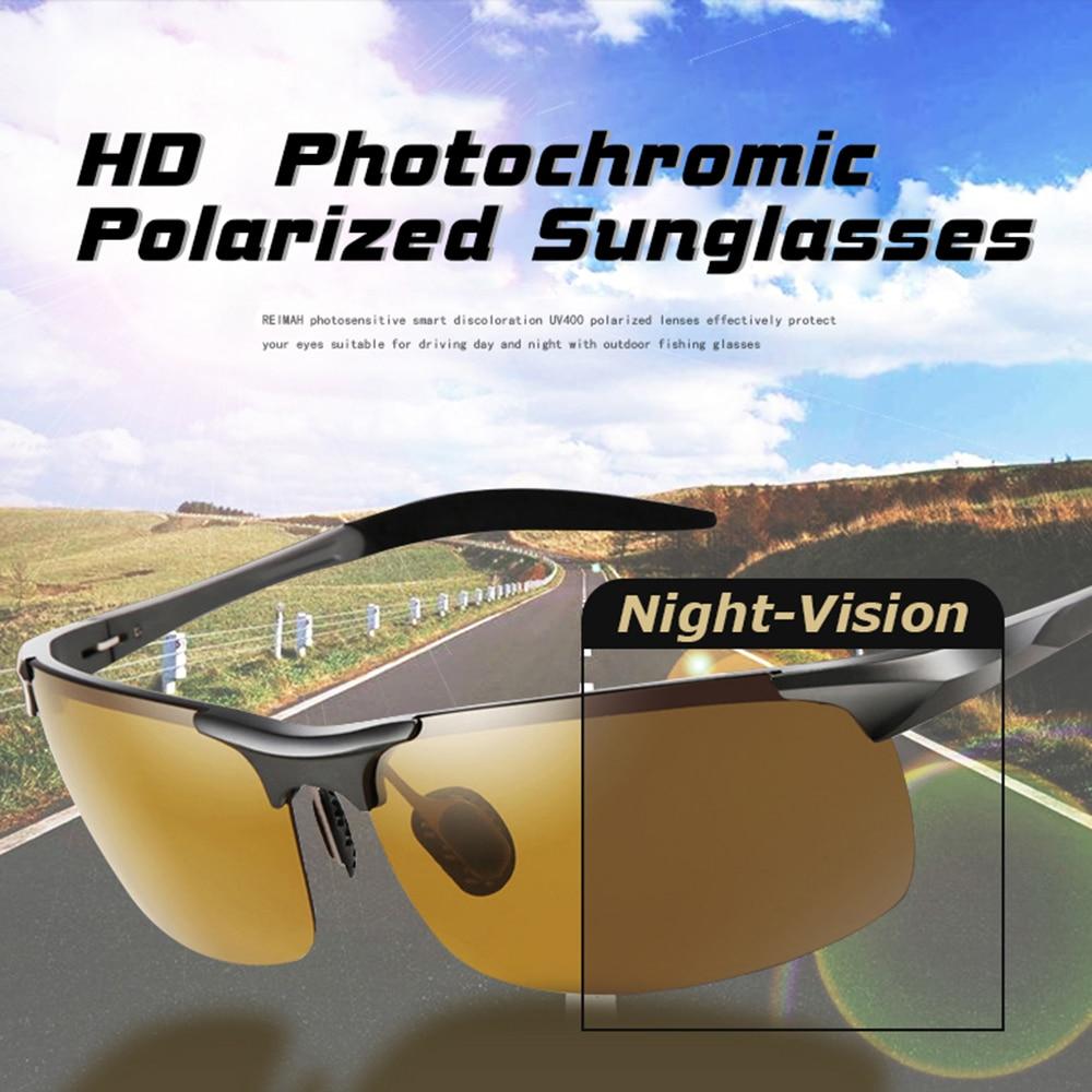 Купить с кэшбэком Aluminum Magnesium Photochromic Sunglasses Polarized Night Vision Glasses Men Oculos Driver Yellow Driving Glasses gafas de sol