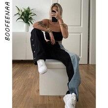 BOOFEENAA Blue and Black Patch Work Baggy Boyfriend Jeans St