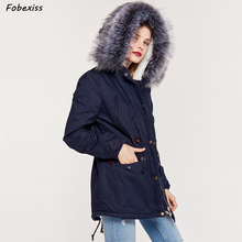 купить Navy Blue Parka Women Fur Hood Winter Jacket Drawstring Plus Size Loose Cotton Lined Jacket 2019 Fashion Streetwear Woman Parkas дешево