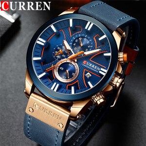 Image 1 - CURREN montre bracelet pour hommes, étanche chronographe, en cuir véritable, marque de luxe, nouvelle horloge, Sport, style militaire, 8346