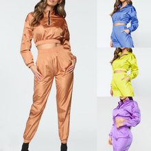 Nice Autumn Women 2 Piece Joggers Sets Zipper Solid Color Crop Tops Drawstring Long Pants Women Sexy Workout Tracksuits Sets(China)