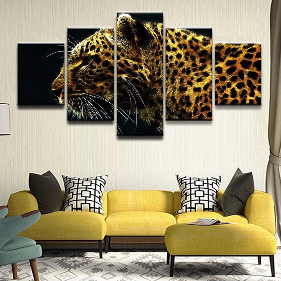 Peinture diamant thème léopard doré, broderie complète 5D, perles carrées ou rondes, décoration dintérieur, mosaïque avec animaux, bricolage, 5 pièces, soldes, AA2385