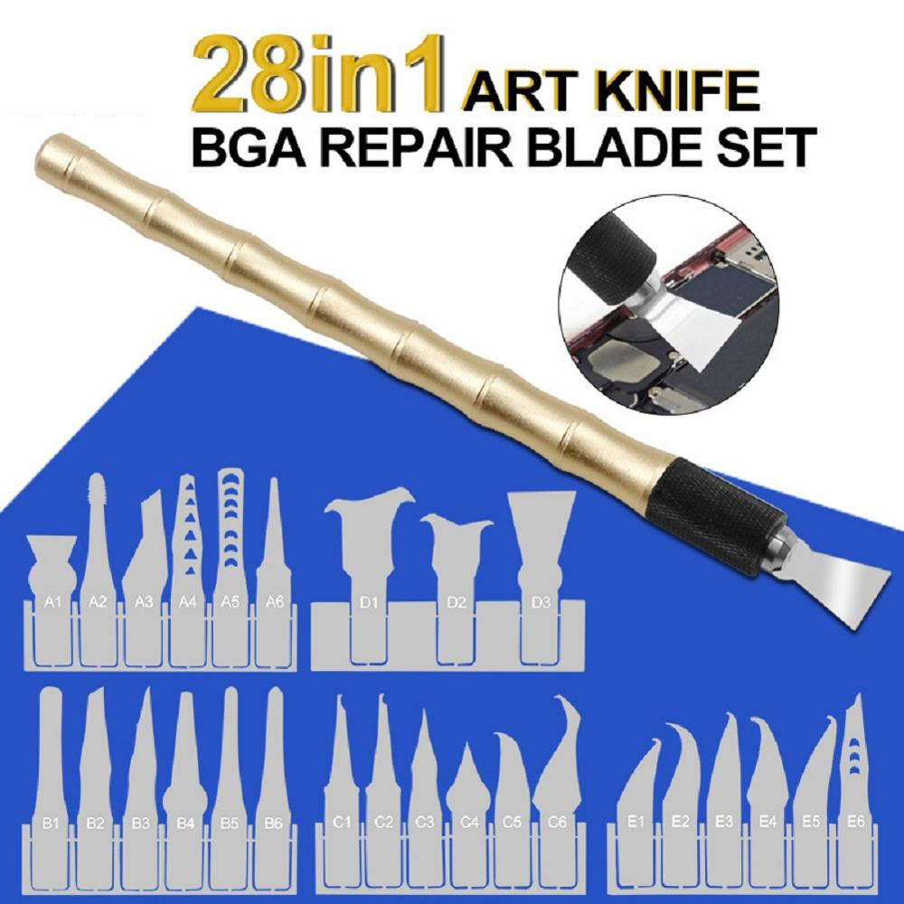 28 In 1 Powerful CPU In Addition To Glue Blade Pry Mobile Phone Motherboard Repair Chip Metal Squeegee Spatula Disassembly Tools