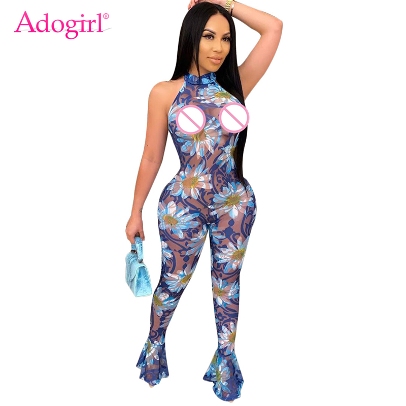 Adogirl Floral Print Sheer Mesh Sexy Jumpsuit Flare Pants Halter Backless Sleeveless Nightclub Romper Fashion Summer Overalls