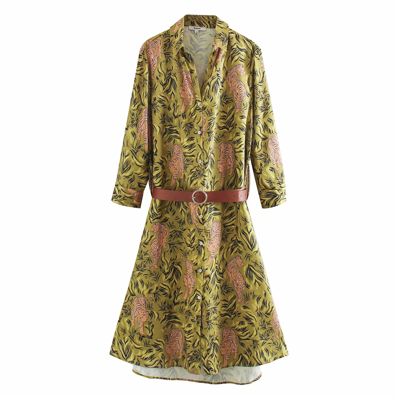 KUMSVAG 2020 Summer Women Vintage Shirt Dress Long Sleeve Floral Print Sashes Twill Dresses Female Fashion Elegant Dress Clothes