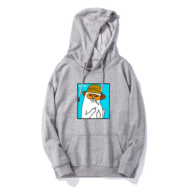 2019 Hoodie New Style European And American Streets Popular Brand Cheap Cat Printed Ripndip Men And Women Couples Hooded Pullove 4