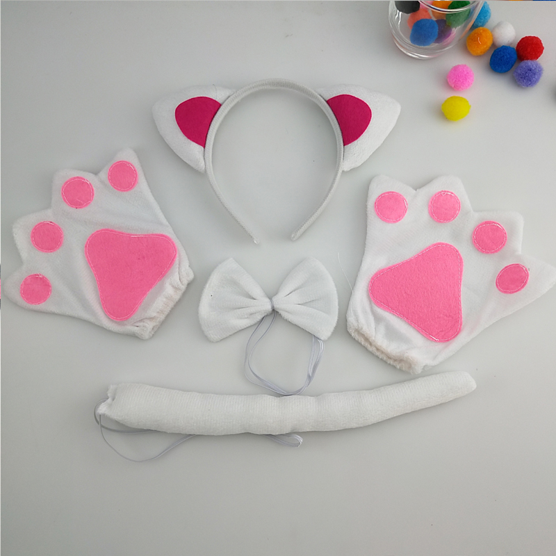 Adult Cat Set Costume Fancy Dress Animal Ears with Tail and Bow Children Party