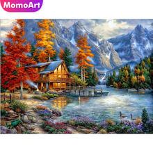 MomoArt Diamond Painting Landscape Embroidery Autumn Tree Mosaic Full Square Drill Rhinestone Needlework