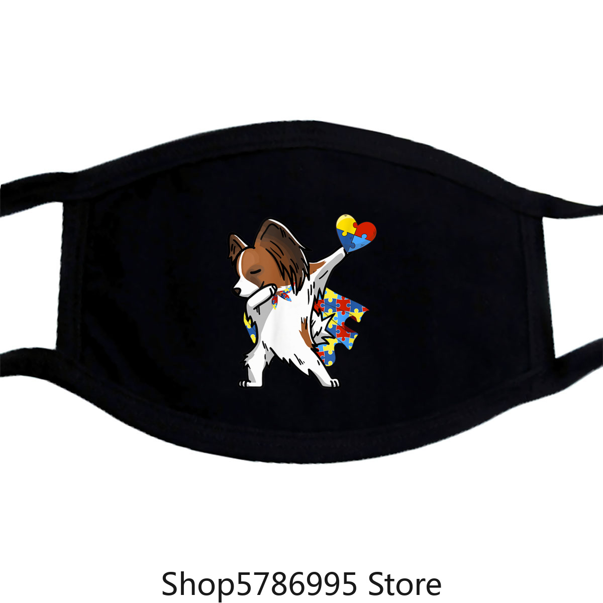 Cute Dabbing Papillon Dog Autism Awareness Gifts Mask