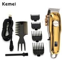Tagliacapelli a batteria professionale per barbiere Kemei per uomo Trimmer per barba per capelli Display LCD regolabile Kit per taglio di capelli per toelettatura