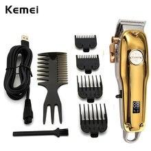 Kemei – tondeuse à cheveux professionnelle sans fil pour hommes, Kit de coupe et toilettage avec écran LCD réglable tondeuse à barbe