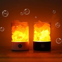 Night light dimmable natural pink treatment crystal rock night light with USB cable bedroom office yoga room Himalayan salt lamp